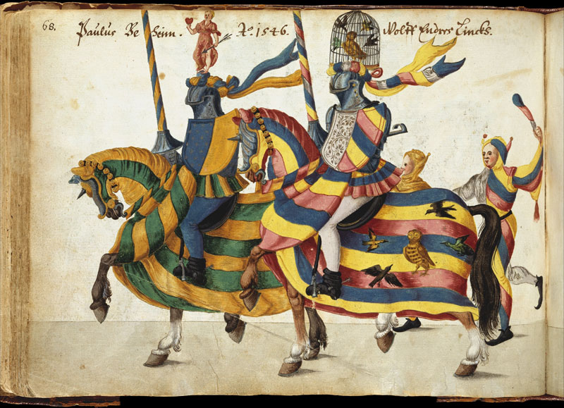 A page from the Album of Tournaments and Parades in Nuremberg from the 16th and 17th centuries.