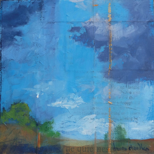 The Quietness, oil and mixed media textual landscape painting by Santa Fe artist Dawn Chandler