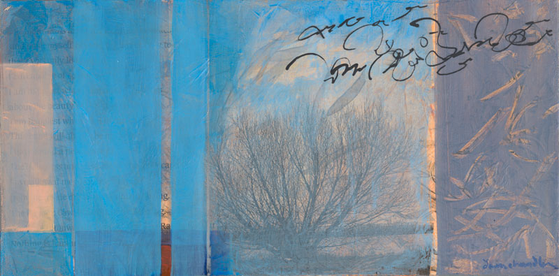 Nothing Is Harsh, mixed media textual landscape painting by Santa Fe artist Dawn Chandler