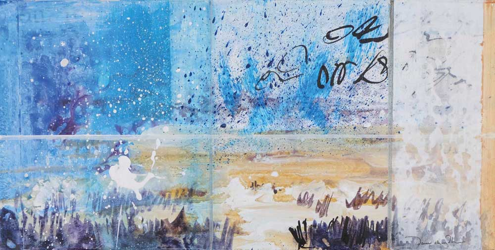 Finding Ourselves in Winter, mixed media textual landscape painting by Santa Fe artist Dawn Chandler
