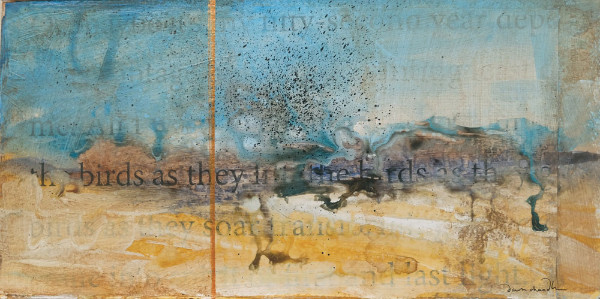As They Soar, mixed media textual landscape painting by Santa Fe artist Dawn Chandler