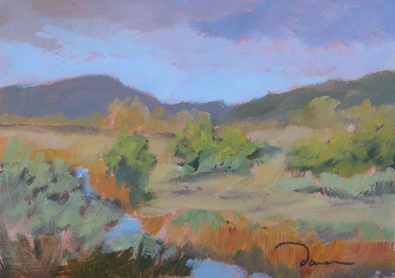 Early Evening Along the Santa Fe River, oil painting by artist Dawn Chandler