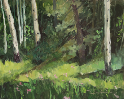 My Little Cove Among the Aspens, oil painting on panel by artist Dawn Chandler