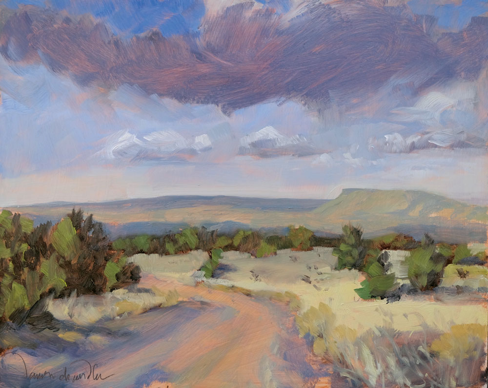 Morning Across the Galisteo Basin plein air oil landscape painting by Santa Fe artist Dawn Chandler