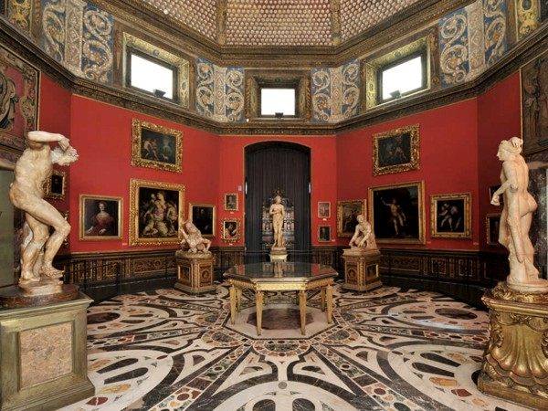 One of the splendid galleries of the Uffizi Museum in Florence, Italy