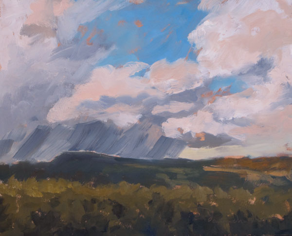 Sunset Light on Glorietta Mesa, plein air oil landscape painting by Santa Fe artist Dawn Chandler