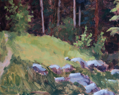 Santa Fe Forest Clearing, oil painting on panel by artist Dawn Chandler