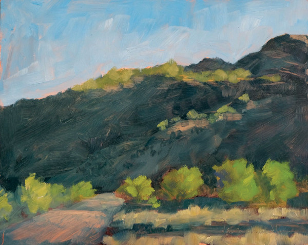 Passing Through Velarde on the Way to Taos plein air oil landscape painting by Santa Fe artist Dawn Chandler