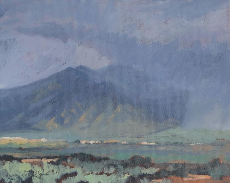 Taos Rain oil painting by artist Dawn Chandler
