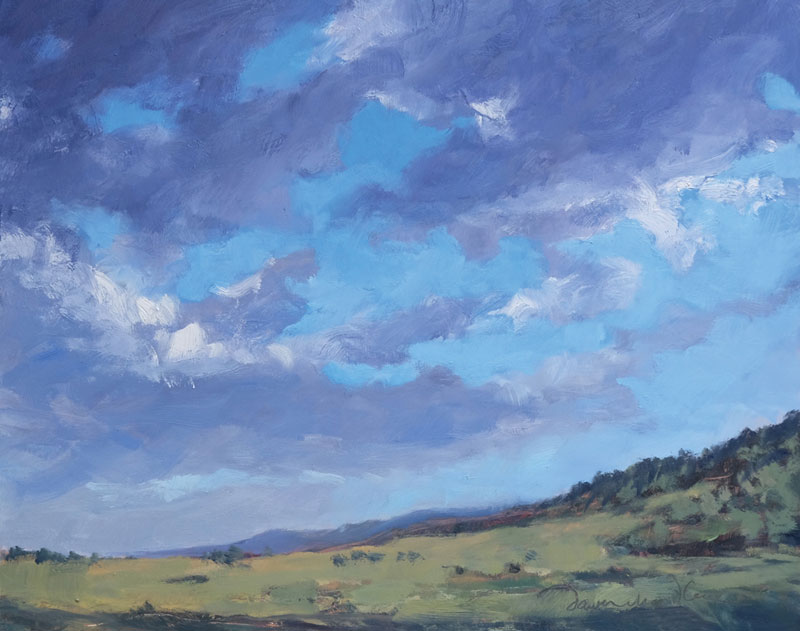 Summer Sky Over Miami, New Mexico, oil painting by artist Dawn Chandler