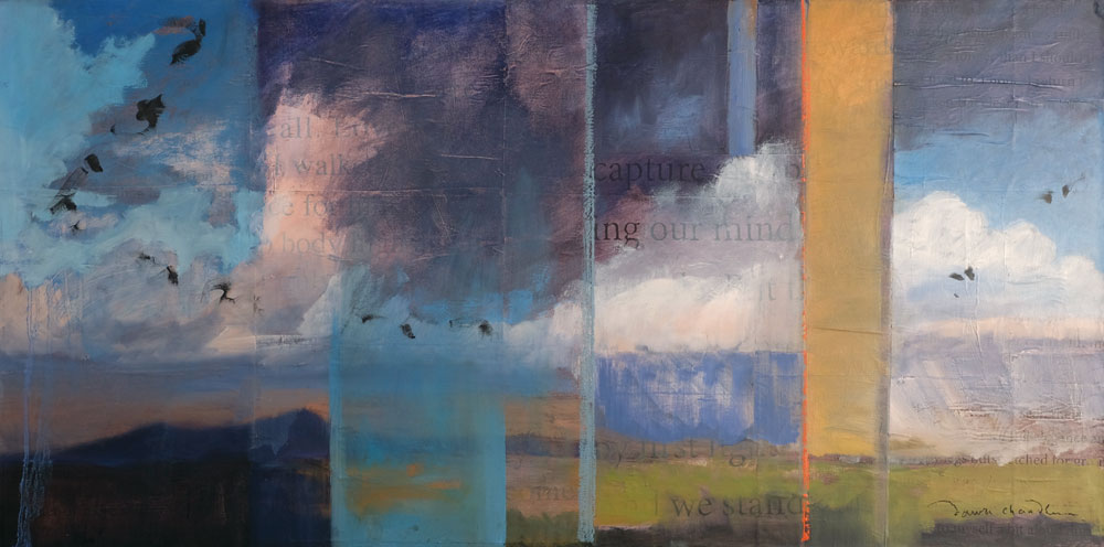 Walking Captures and Releases My Mind, oil and mixed media textual landscape painting by Santa Fe artist Dawn Chandler