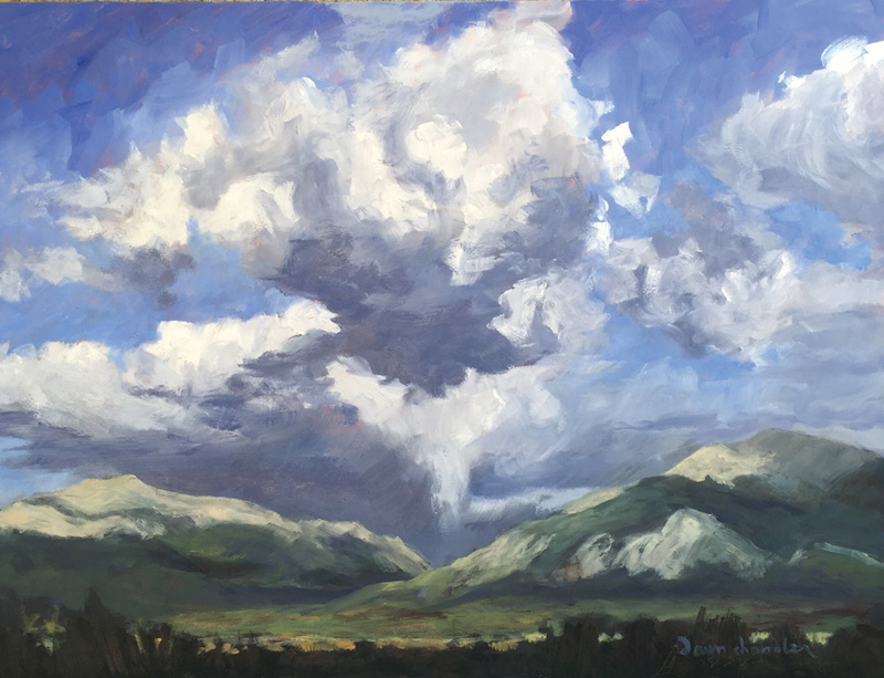 Clouds Over The Collegiate Range, oil painting by artist Dawn Chandler
