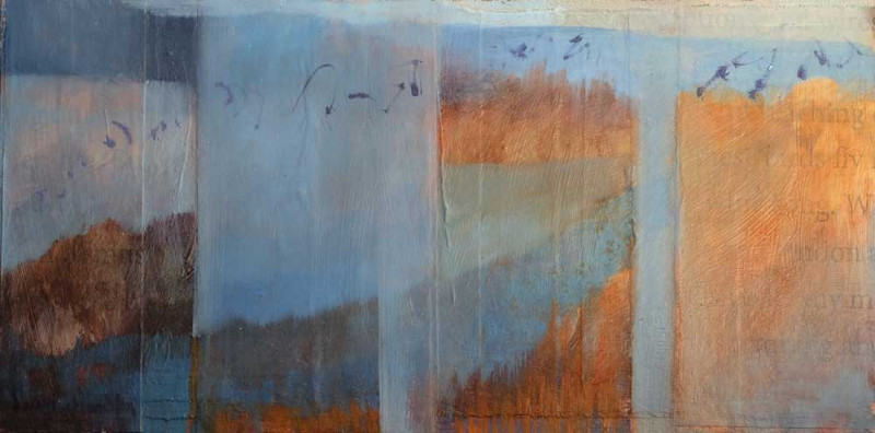 Bosque Birdsong, oil and mixed media textual landscape painting by Santa Fe artist Dawn Chandler