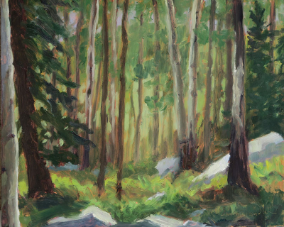 Along the Winsor Trail, oil painting on panel by artist Dawn Chandler