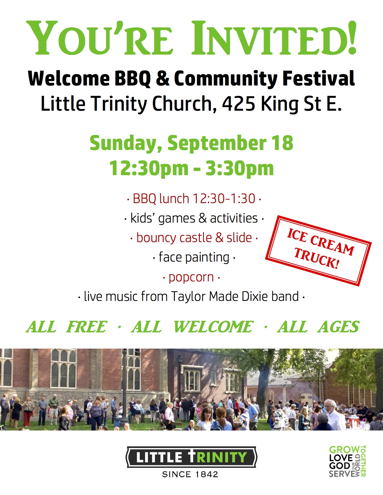 Welcome BBQ and Community Festival at Little Trinity Church Sunday Sept 18th