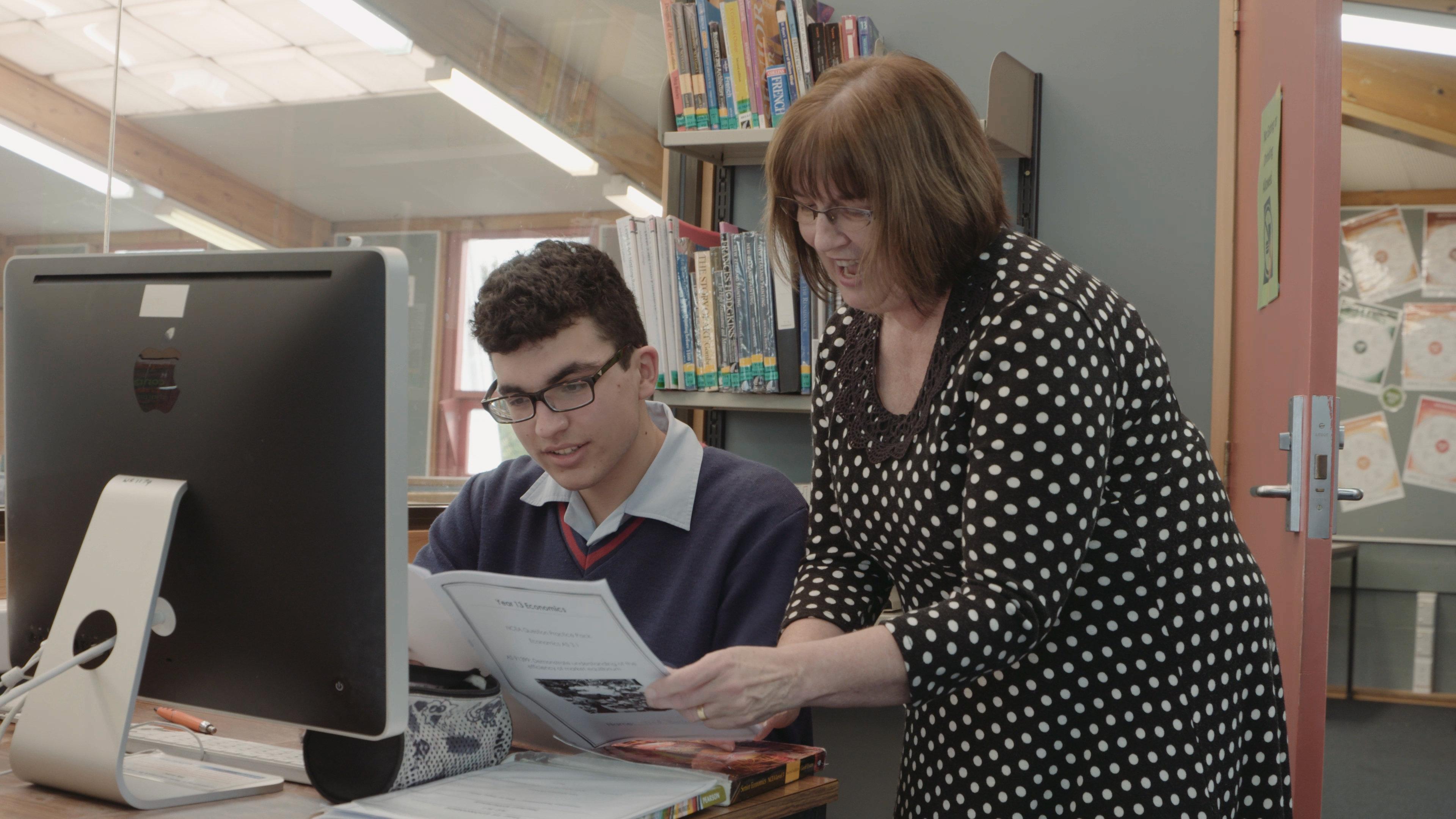 Ashburton College student and e-teacher