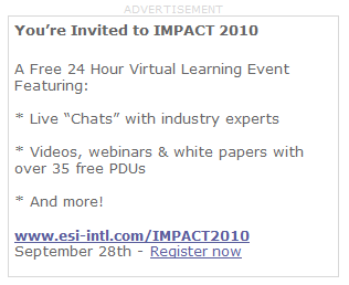 You're Invited to IMPACT 2010 - A Free 24 Hour Virtual Learning Event