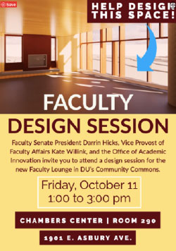 Faculty Design Session flier -- Faculty lounge