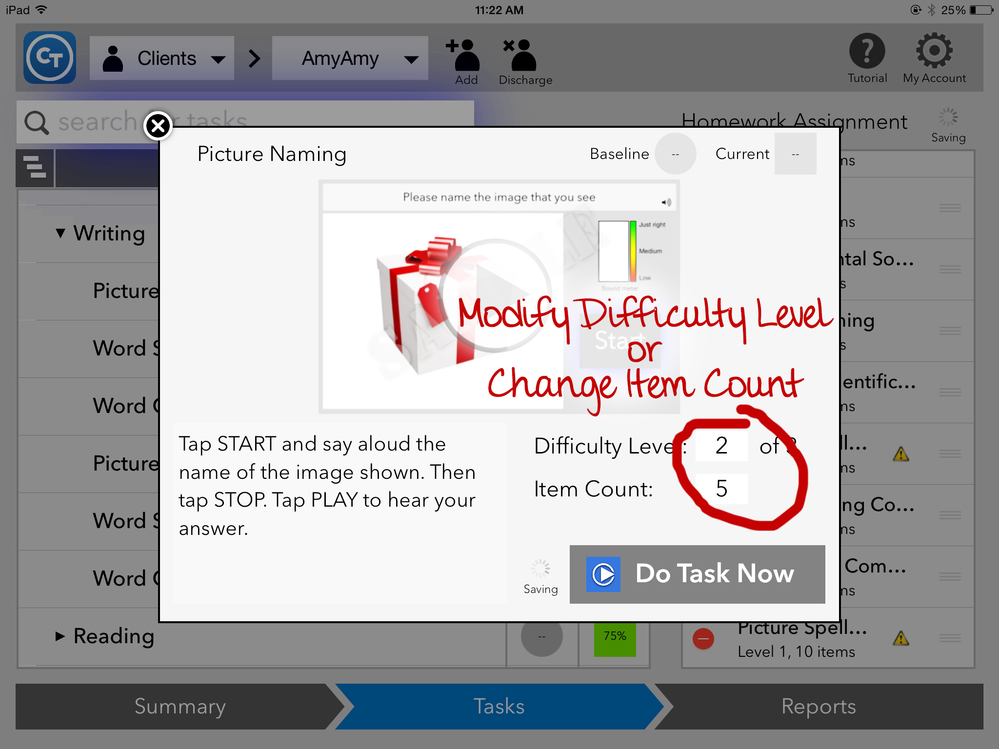Change task screen