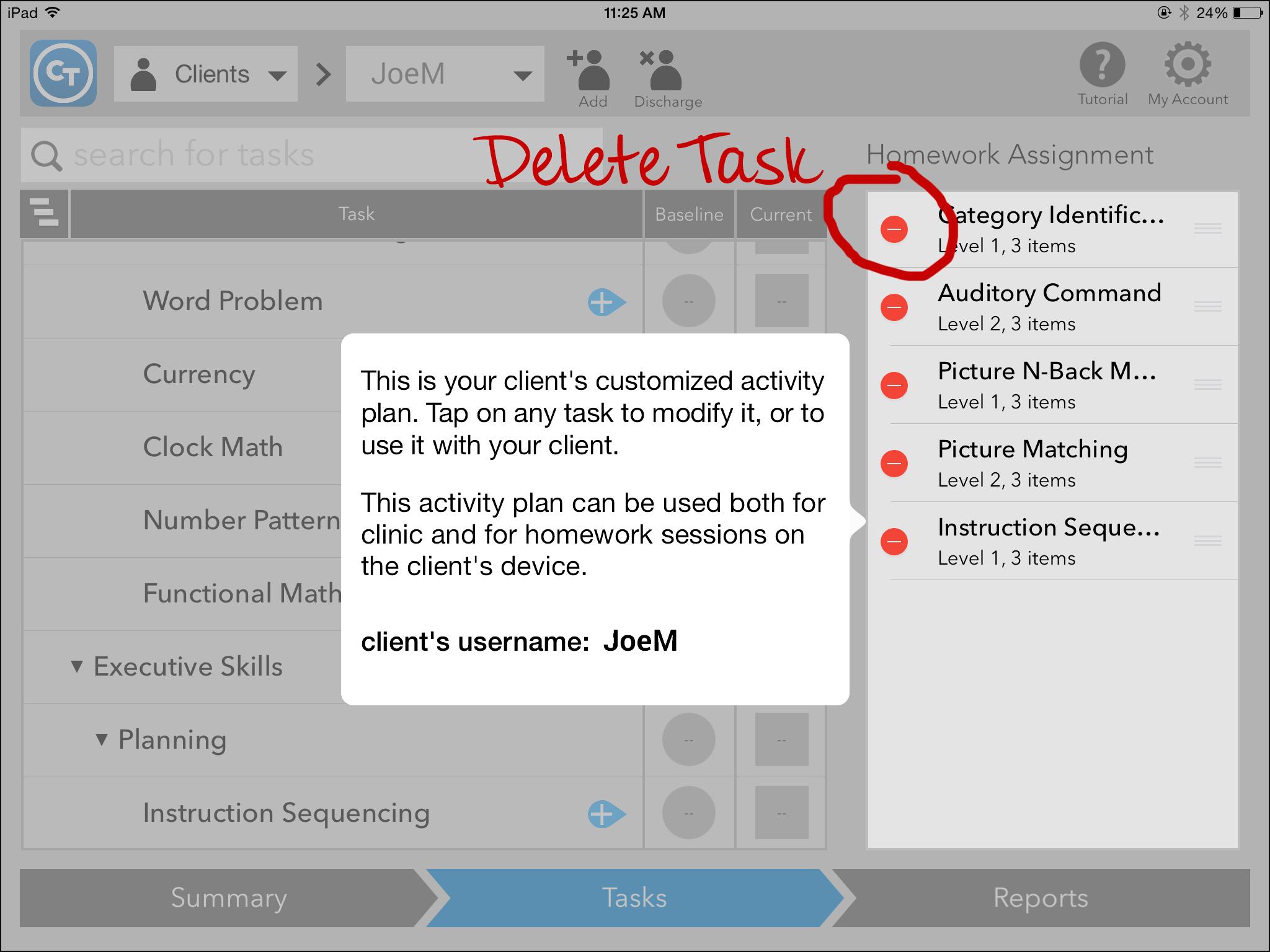 Delete task screen