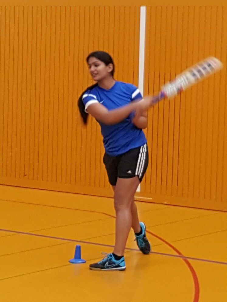 Dhanya Maliakal at indoor cricket practice