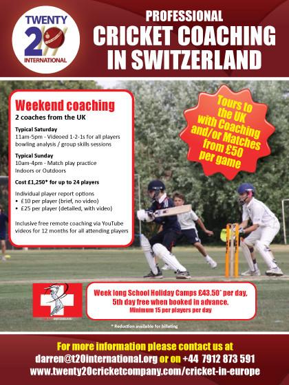 Professional Cricket Coaching in Switzerland