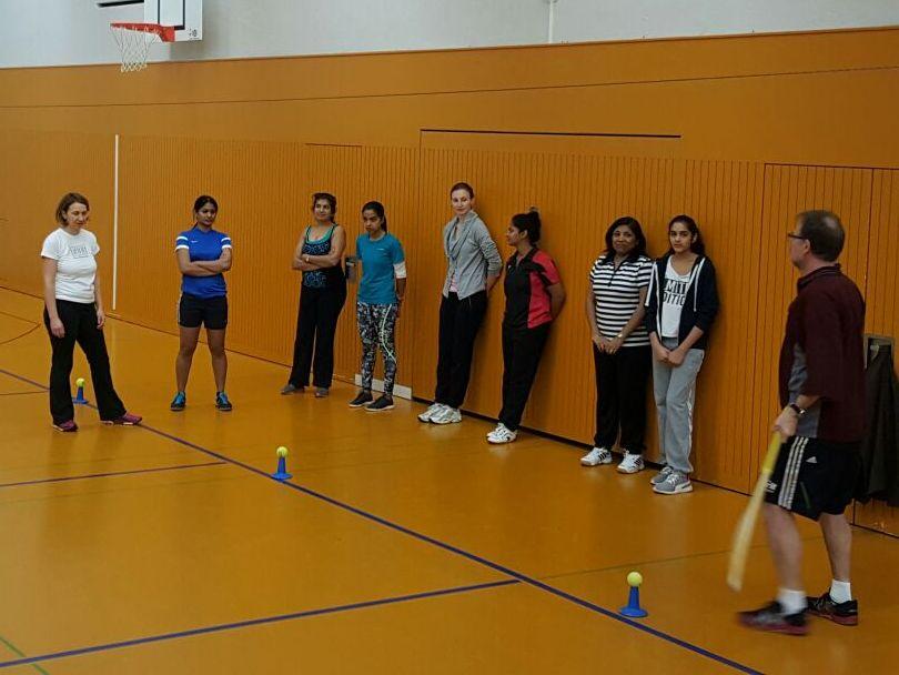 Cricket Switzerland women's indoor cricket practice