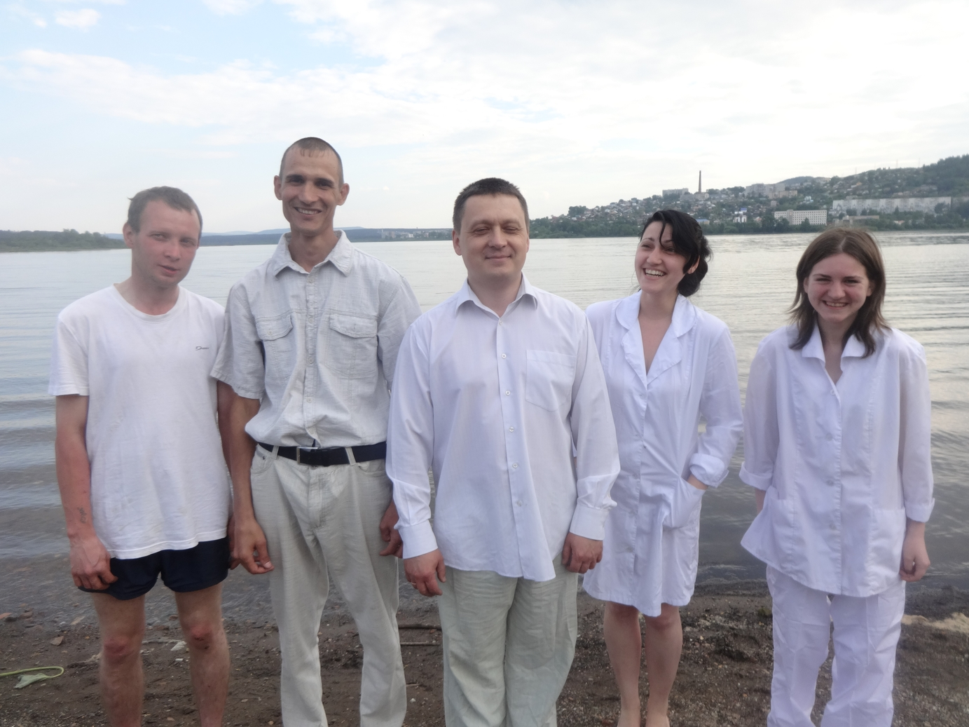 The baptism of RBS student Sergey Subbotin. He is second from  the left