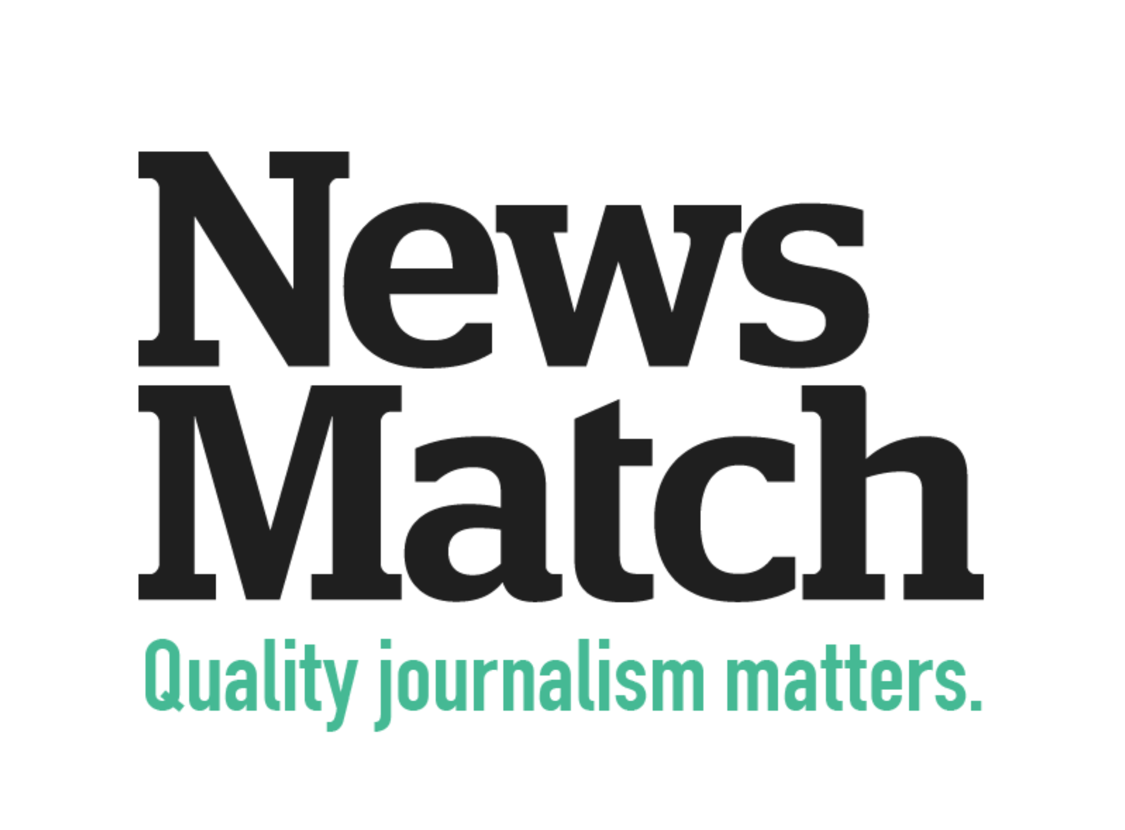 The News Match logo is plain text that reads: News Match. Quality Journalism Matters.