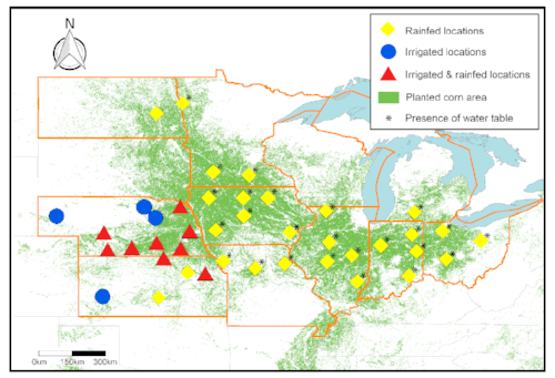 Locations for corn yield forecasts
