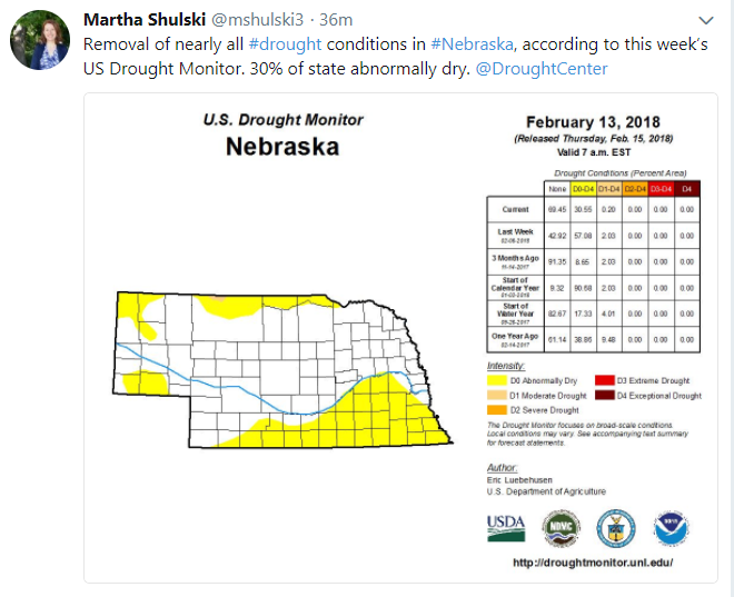 Map of drought conditions in Nebraska