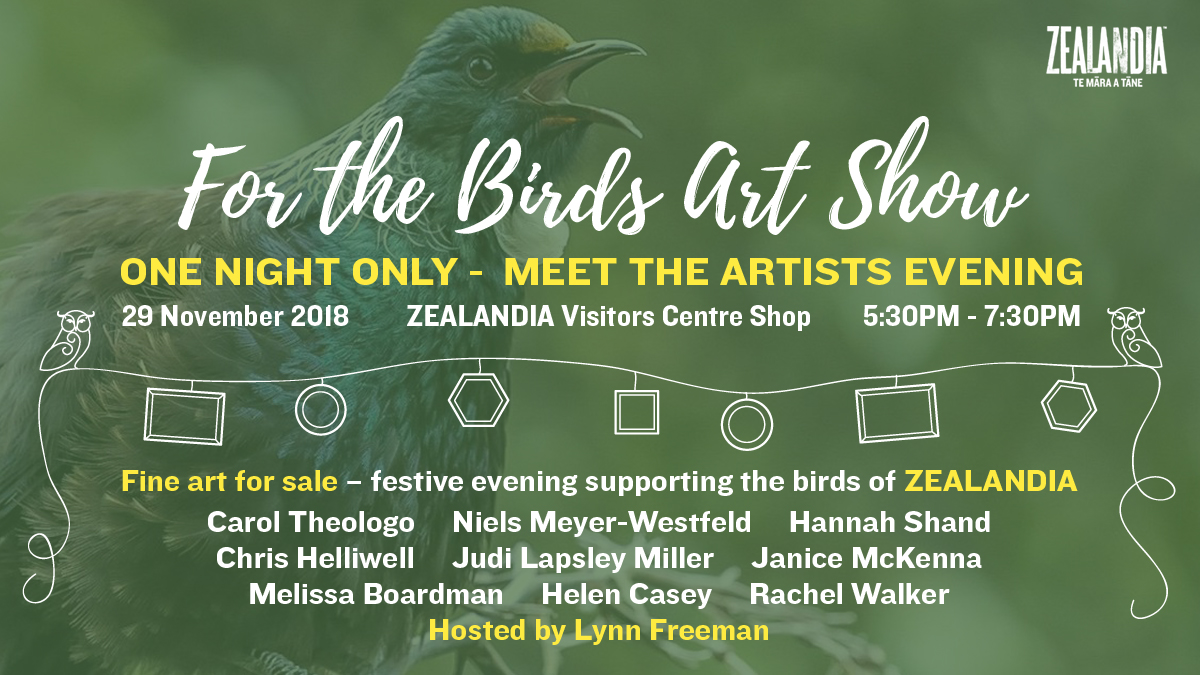 For the Birds Art Show Banner with list of participating artists.