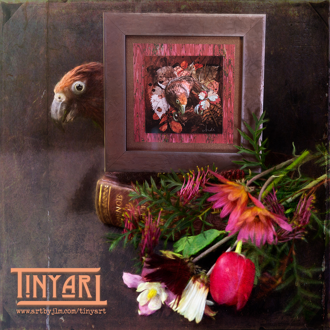 """TinyArt version of """"Kaka kura"""" set among a still life vignette of an old book and flowers, with the kaka kura peeking out from behind the frame."""