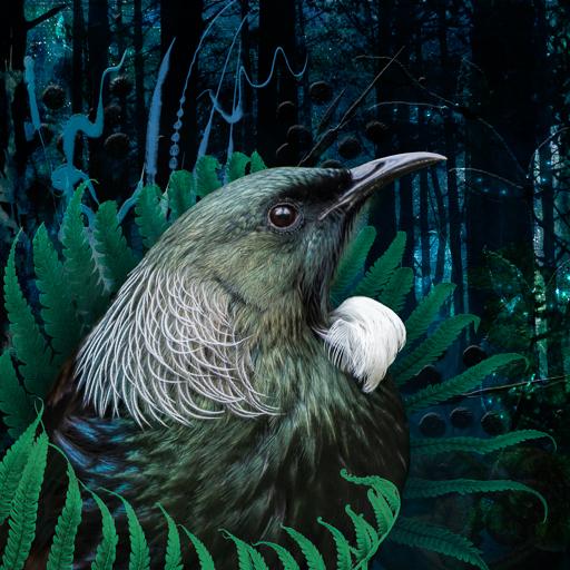 Photo-art of a tūī amongst fern