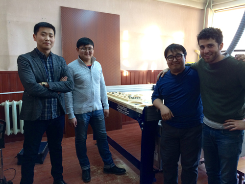 David Preiss and group at the site of the ShopBot installation in Mongolia.