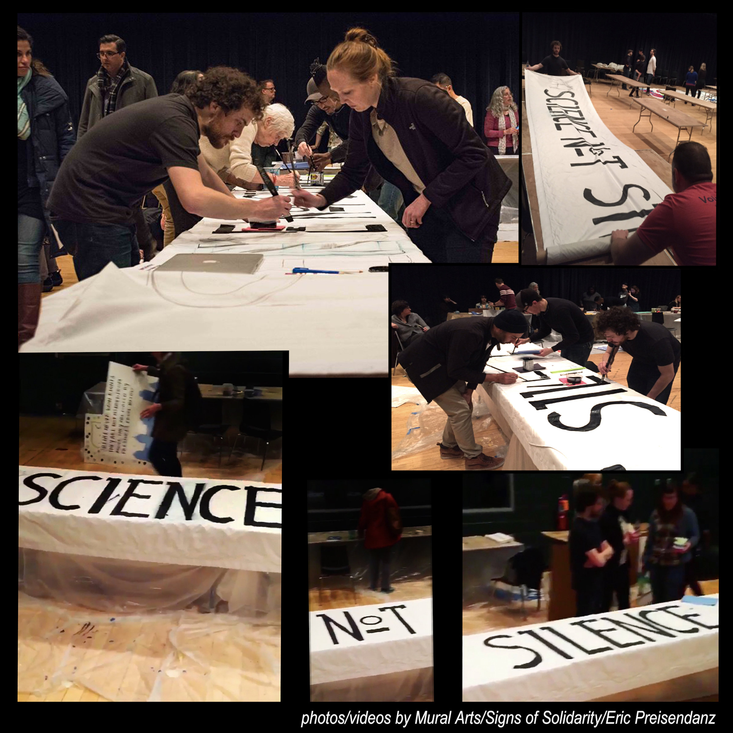 """Science NOT Silence"" images provided by Mural Arts/Signs of Solidarity/Eric Preisendanz"