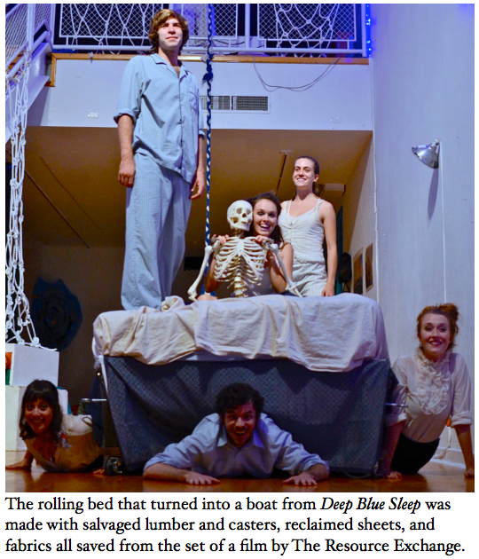 """The rolling bed that turned into a boat from """"Deep Blue Sleep"""" was made with salvaged lumber, casters, reclaimed sheets, and fabrics all saved from the set of a film by The Resource Exchange"""