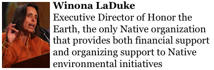 Winona LaDuke http://www.honorearth.org/  Executive Director of  Honor the Earth, the only Native organization that provides both financial support and organizing support to Native environmental initiatives.