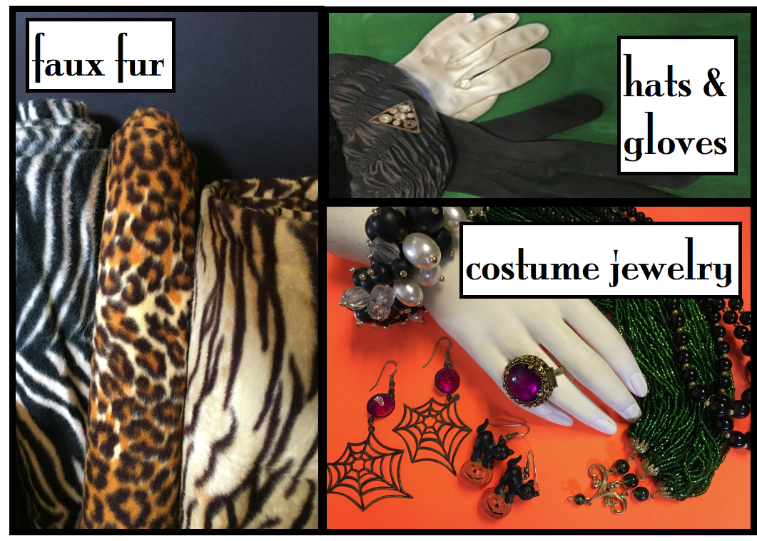 faux fur, hats & gloves, costume jewelry