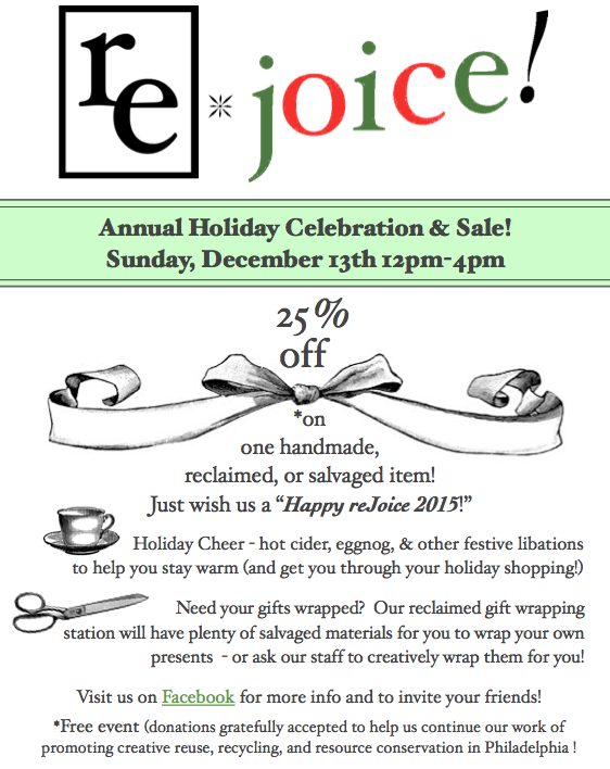 reJoice Annual Holiday Celebration & Sale Sunday December 13th 12pm-4pm. Find out more information by visiting our facebook page.