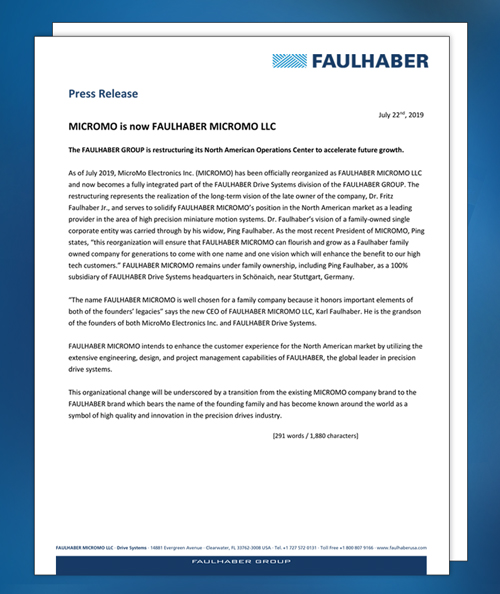 FAULHABER MICROMO press release July 2019