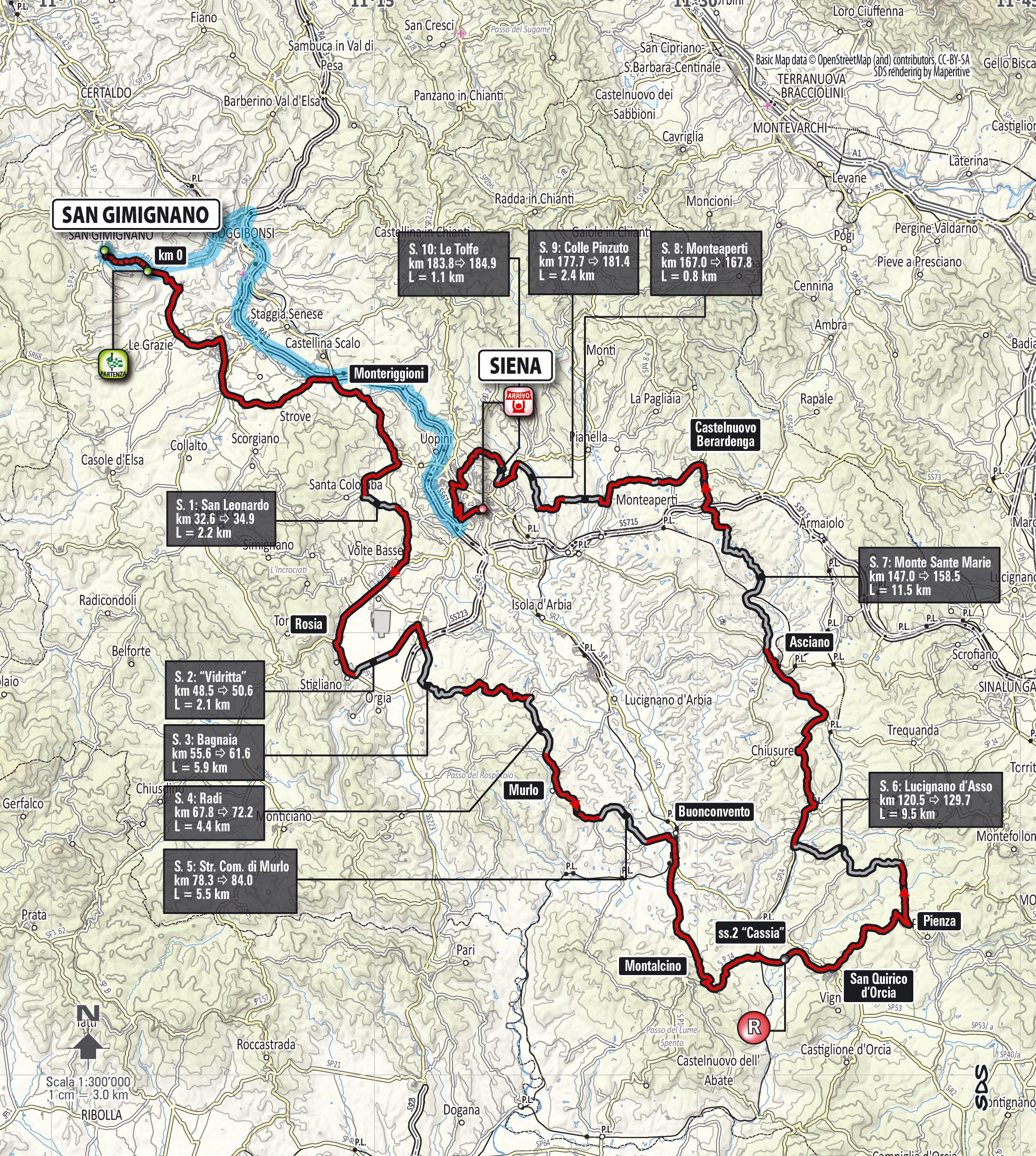 Het parcours van de Strade Bianche 2015