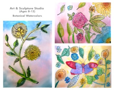 Art and Sculpture Studio Botanical Watercolors