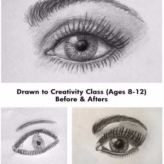Drawn to Creativity Class drawing eyes