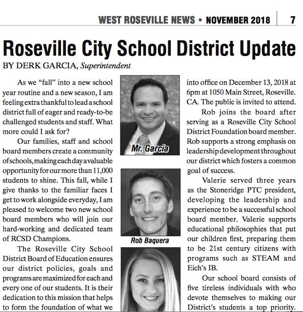 Roseville City School District Update