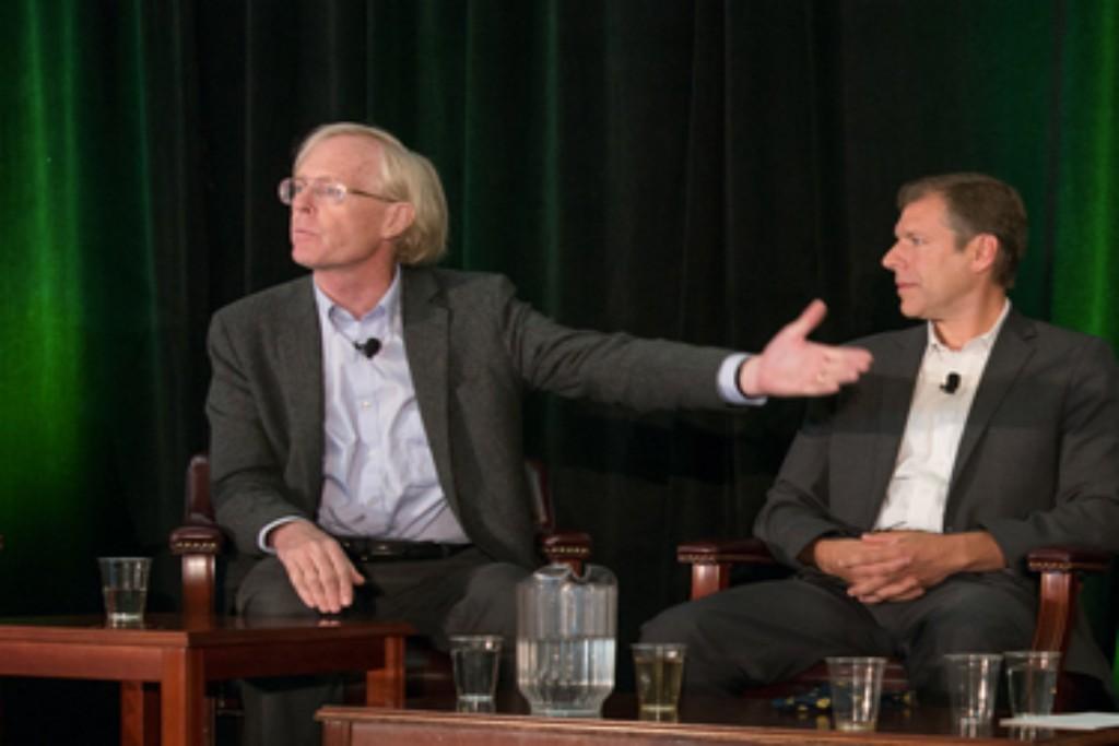 Photo: Ralph Cavanagh and Dan Kammen oppose expanding nuclear energy. Credit: Steve Castillo