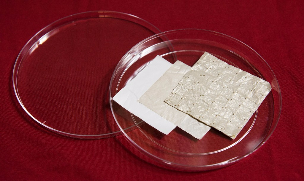 Photo: Samples of a novel plastic-based textile that cools the skin. Credit: L.A. Cicero, Stanford News Service