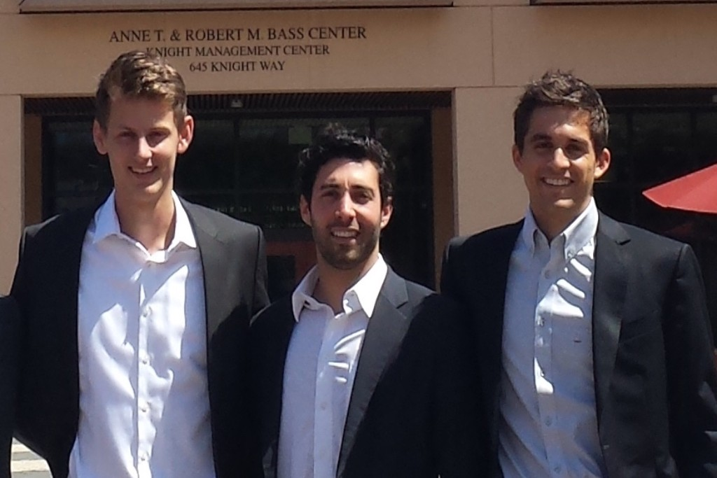 Photo: ClearMetal cofounders Will Harvey, Adam Compain and Diego Canales. Courtesy: TomKat Center for Sustainable Energy