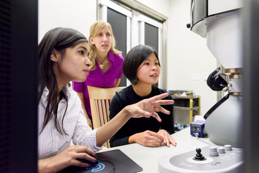 Using advanced electron microscopy, Fariah Hayee, Jen Dionne and Ai Leen Koh captured extremely high-resolution video of atoms moving in and out of nanoparticles. Credit: L.A. Cicero