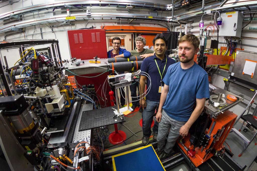 Berkeley Lab and SLAC scientists (from left) Ernest Pastor, Jan Kern, Sheraz Gul and Franklin Fuller at the Macromolecular Femtosecond Crystallography station at SLAC. Credit: SLAC National Accelerator Laboratory